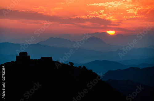 Spoed Foto op Canvas Heuvel View of Great wall of China near Beijing