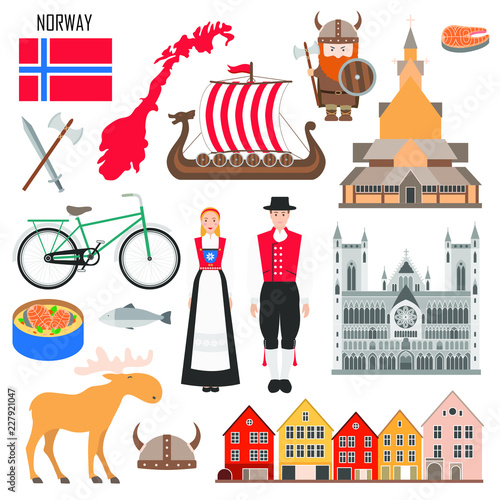 Photo  Set with Norwegian symbols: viking ship, flag of Norway, elk, costume, wooden church, salmon
