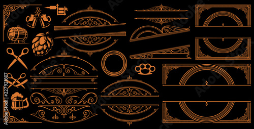 Canvas Print Vintage Borders and Signs on the dark background