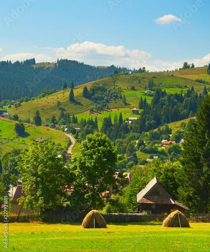 Obraz Carpathians mountains village landscape Ukraine - fototapety do salonu