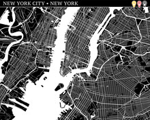 Simple Map Of New York City, N...