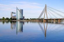Skyline View Of Left Bank, Kipsala Island, And Vansu Bridge, Riga, Latvia
