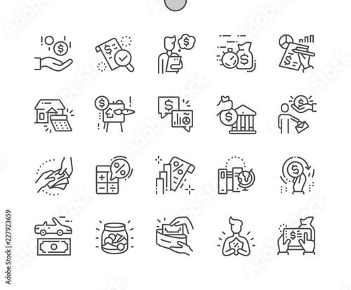 Fototapeta Loan Well-crafted Pixel Perfect Vector Thin Line Icons 30 2x Grid for Web Graphics and Apps. Simple Minimal Pictogram obraz