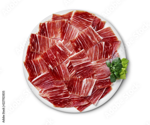 iberico ham dish isolated