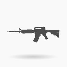 AR-15 Assault Rifle Icon Illustration Silhouette.