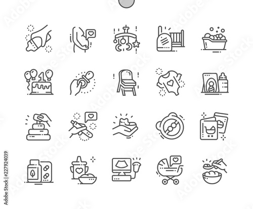 Obraz Maternity Well-crafted Pixel Perfect Vector Thin Line Icons 30 2x Grid for Web Graphics and Apps. Simple Minimal Pictogram - fototapety do salonu