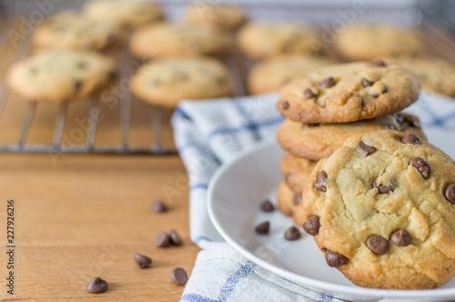 Leinwand Poster Fresh homemade chocolate chip cookies