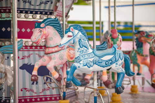 carousel horse Pastel color for kids During the weekend of family fun In the amusement park Fototapete