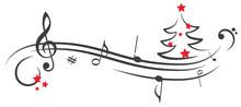 Rote Sterne Notenschlüssel Weihnachten Weihnachtsbaum