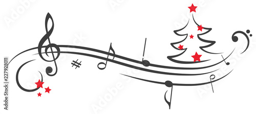Fotografering Rote Sterne Notenschlüssel Weihnachten Weihnachtsbaum