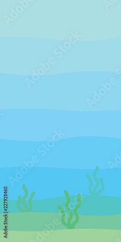 Fotobehang Lichtblauw Soft underwater landscape with waves, seabed and seaweed. Undersea scenery. Vector illustration in simple minimalistic flat style. Scene for your artwork and design. Vertical composition.