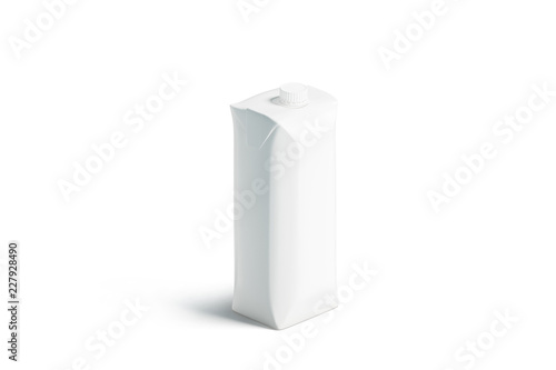 Blank white prisma juice pack with lid mockup, stand isolated, 3d rendering Canvas-taulu