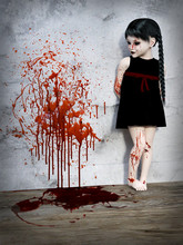 3D Rendering Of A Blood Covered Small Girl With Blood Stained Wall.