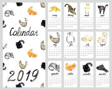 Calendar 2019 With Watercolor ...