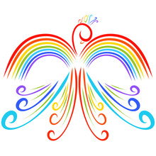 Colorful Bird With Wings In The Form Of A Rainbow