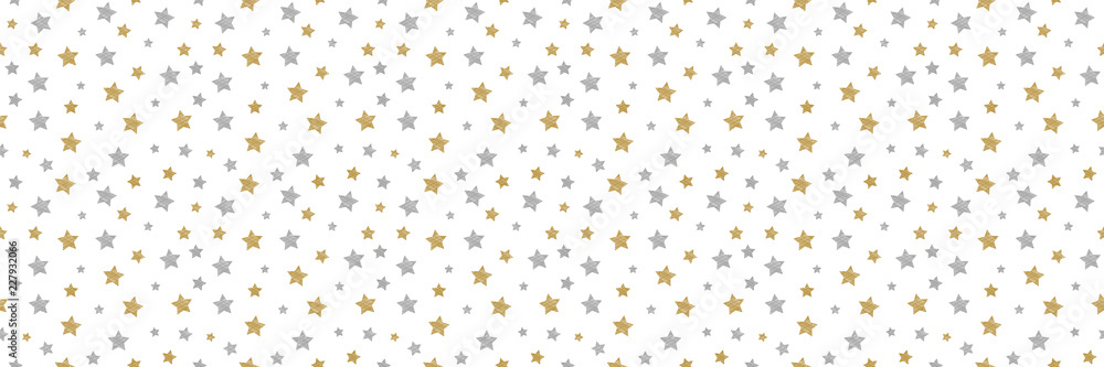 Fototapety, obrazy: Seamless texture with hand drawn stars. Vector.