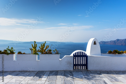 Aluminium Prints Santorini Santorini, Greece. Picturesque view of traditional cycladic Oia Santorini's houses on cliff