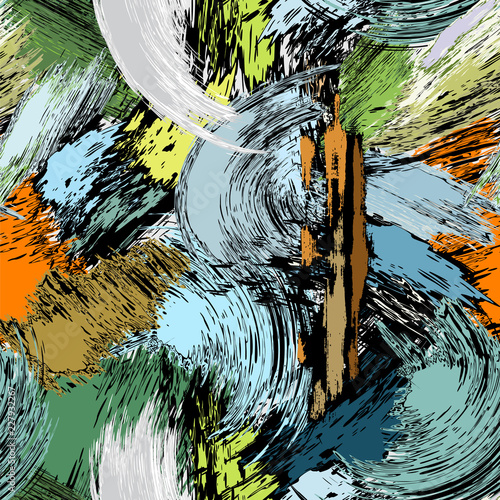 abstract paint strokes and color splashes, colorful seamless background pattern