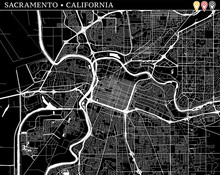 Simple Map Of Sacramento, California