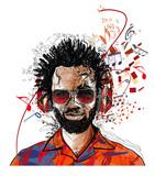 Afroameryk mężczyzna słuchający muzyki - 227933663