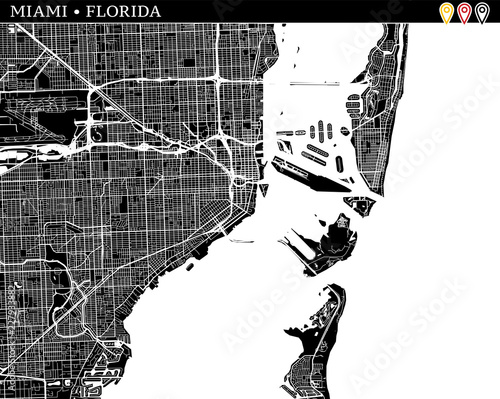 Map Miami Florida.Simple Map Of Miami Florida Buy This Stock Vector And Explore