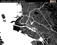 Simple Map Of Oakland, California