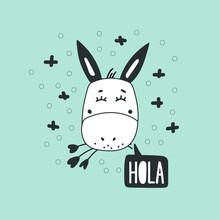 Cute Donkey Head Vector Illustration. Design Element, Modern Clipart