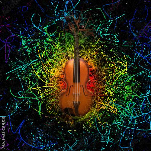 Fotografie, Obraz  Violin on abstract background