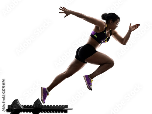 Photo one african runner running sprinter sprinting woman isolated on white background