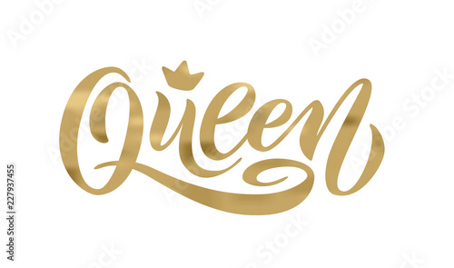 Queen word with crown. Hand lettering text vector illustration Canvas Print