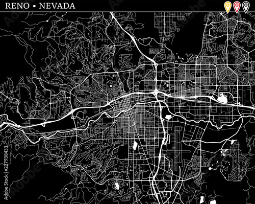 Fotografía  Simple map of Reno, Nevada