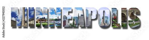 Foto op Canvas Centraal-Amerika Landen Minneapolis banner collage on white