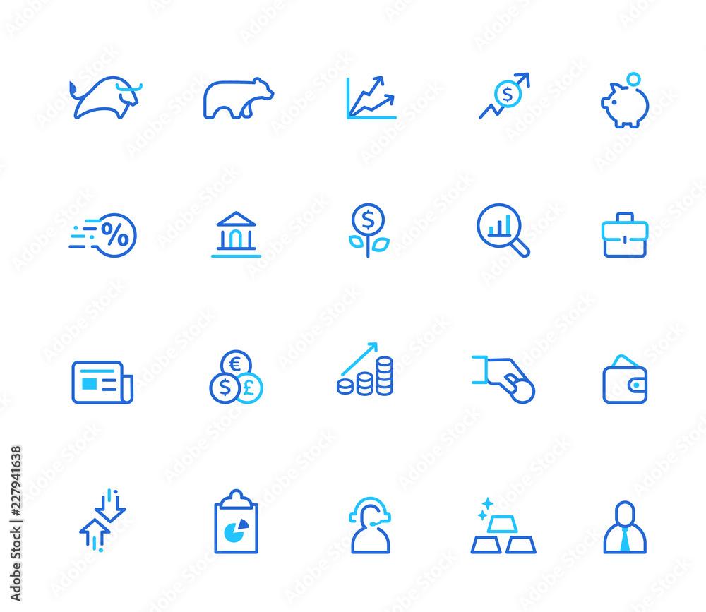 Fototapeta Finance icons, simple line set