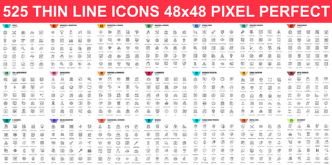 Simple set of vector thin line icons. Contains such Icons as Business, Marketing, Shopping, Banking, E-commerce, SEO, Technology, Medical, Education, Web Development, and more. Linear pictogram pack.