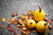 Autumn Still Life Pumpkin With Yellow Leaves On Gray Concrete