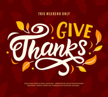 Thanksgiving Day Sale Web Banner Template. Give Thanks Promo Offer