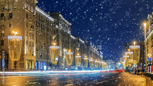 obraz PCV Christmas in Moscow. Festive decorated Tverskaya street in Moscow