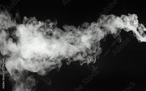 Poster Fumee white smoke cloud on black background