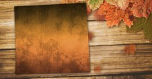 Autumn Leaves Border With Copy Space On Wood