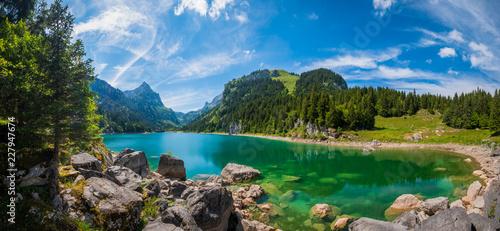 Beautiful mountain lake summer landscape at Switzerland