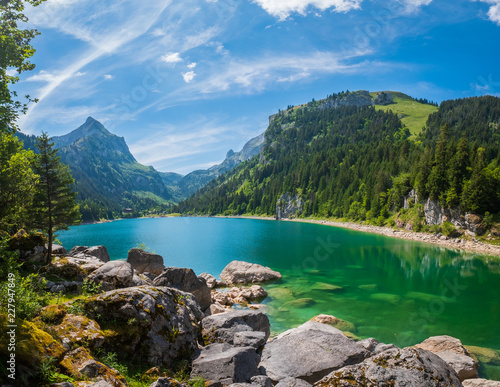 Poster Bergen Beautiful mountain lake summer landscape at Switzerland