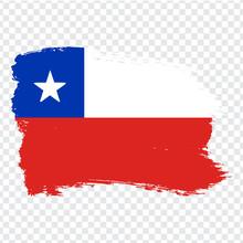 Flag Chile, Brush Stroke Background.  Flag Of  Chile On Transparent Background. Stock Vector.  Flag For Your Web Site Design, Logo, App, UI. Vector Illustration EPS10.