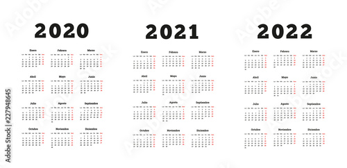 Calendario 2020 A4.Set Of A4 Size Vertical Simple Calendars In Spanish At 2020