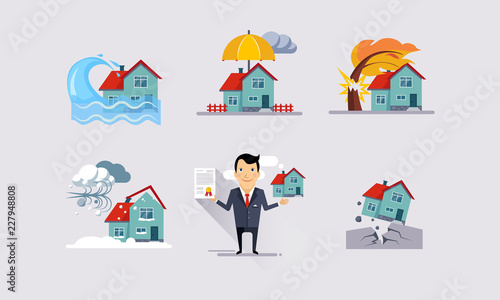 Fototapeta Insurance icons set, natural disasters, property protection, insurance and risk insured events vector Illustration obraz