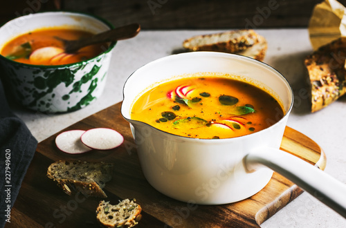 Carrot and Pumpkin soup with Basil oil