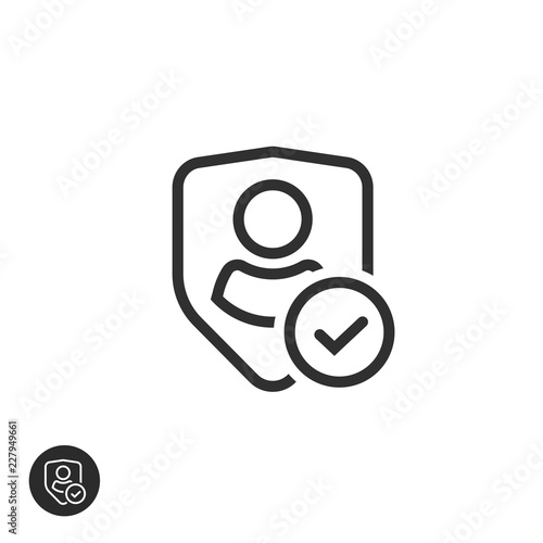 Privacy icon vector, line art outline shield with user silhouette symbol, person Canvas Print