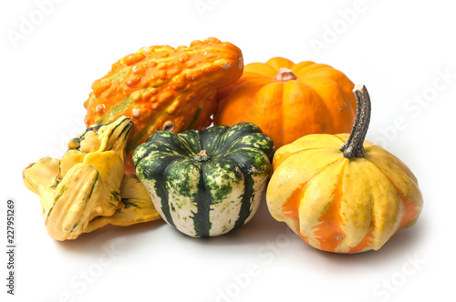 Fotografía closeup of colorful gourds for halloween decoration on white background