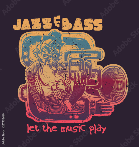 Design Jazz And Bass, Let The Music Play For T-shirt Print With Trumpeter Wallpaper Mural