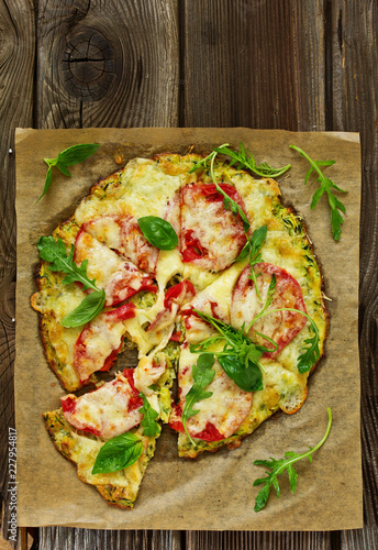 Diet pizza with zucchini.