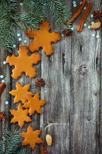 Christmas gingerbread cookie in the form of a snowflake.